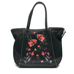 INC  Black Embroidered Floral Large Tote